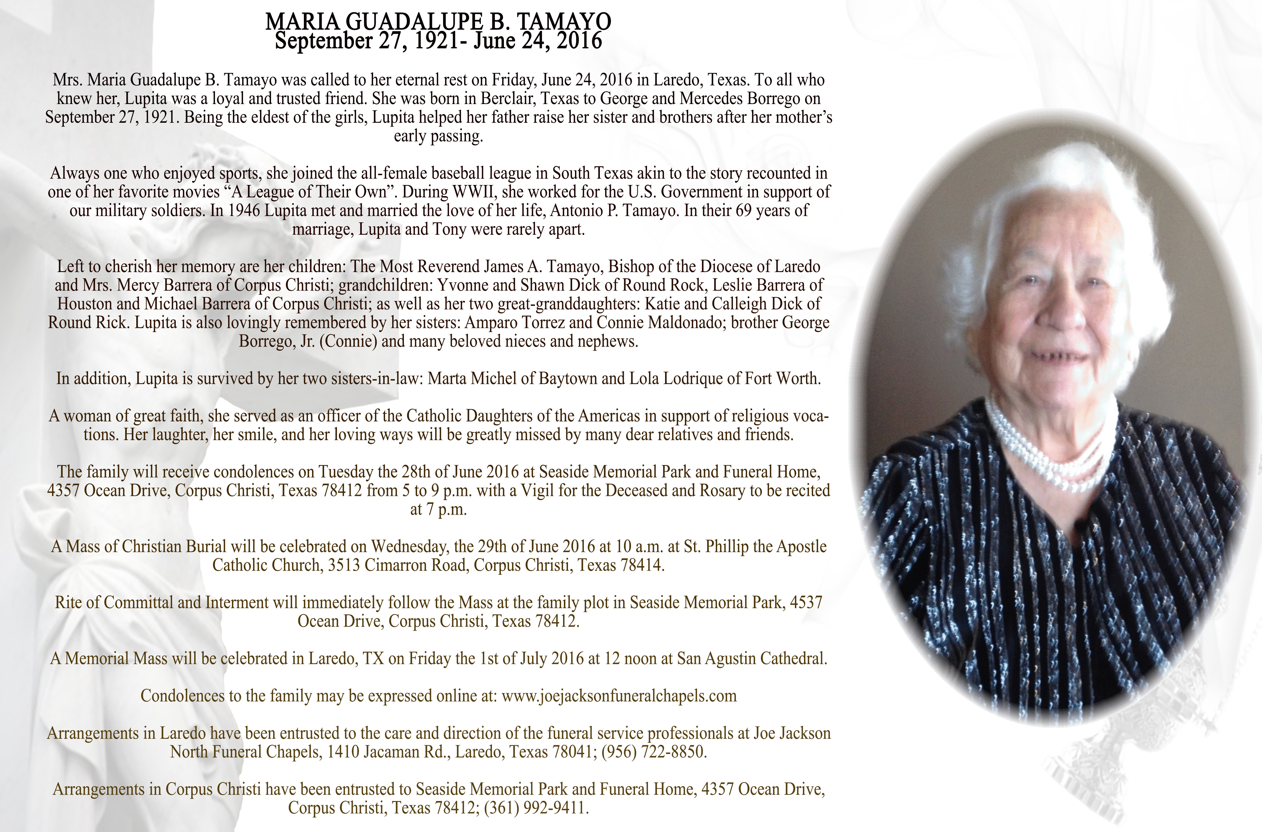 Mrs. María Guadalupe Tamayo\'s Obituary & Funeral Arrangements ...