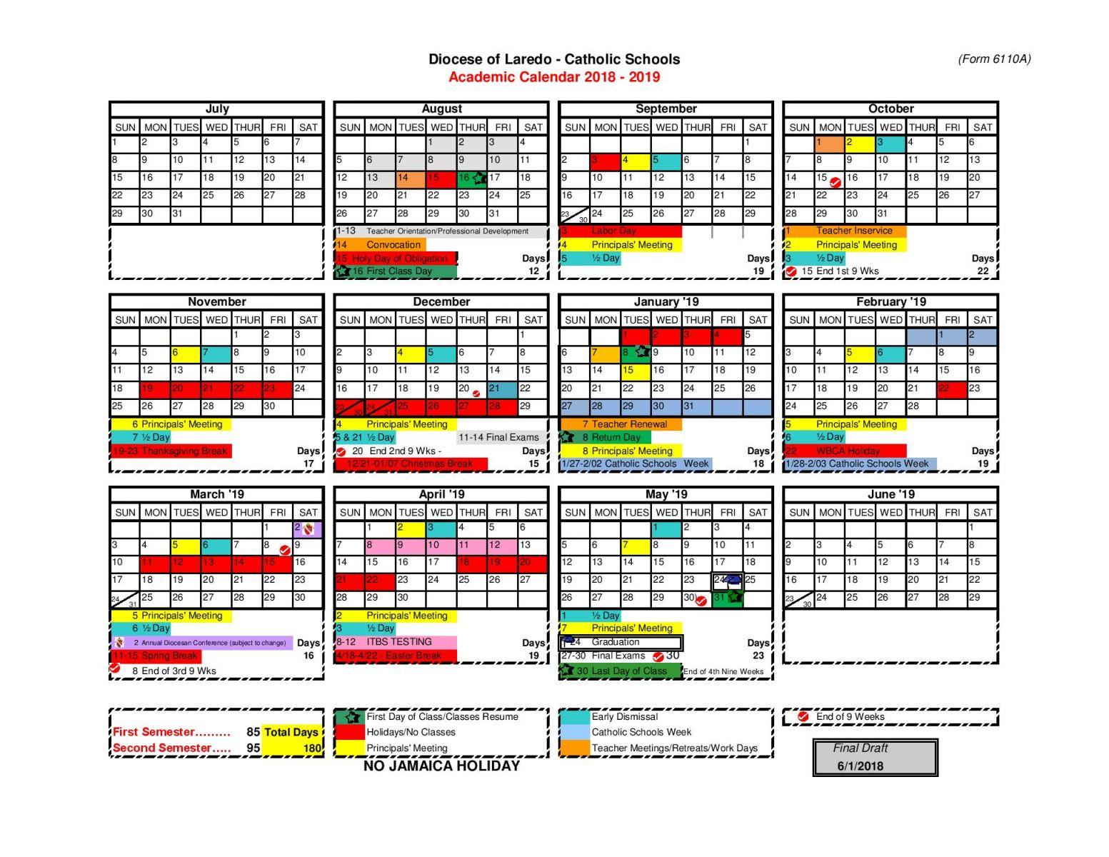 2018 2019 catholic schools calendar